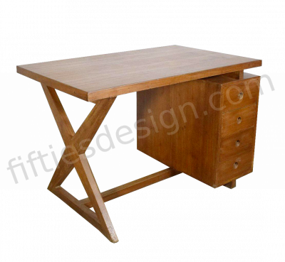 PIERRE JEANNERET X-SHAPED DESK TEAK TOP