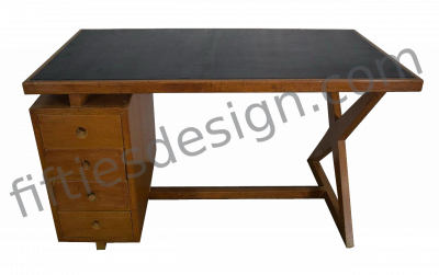 PIERRE JEANNERET X-SHAPED DESK LEATHER TOP