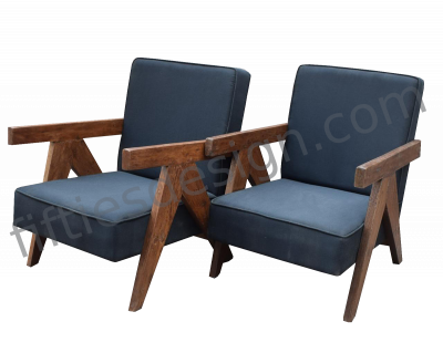 PIERRE JEANNERET VERY RARE PAIR OF ARMCHAIRS
