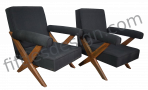 PIERRE JEANNERET VERY RARE PAIR OF X-LEG ARMCHAIRS