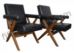 PIERRE JEANNERET RARE PAIR OF X-LEG ARMCHAIRS