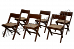 Pierre Jeanneret Unique Set of 6 Library Chairs